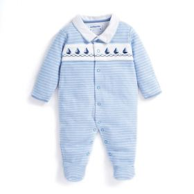 Boat Embroidered Sleepsuit Stripe