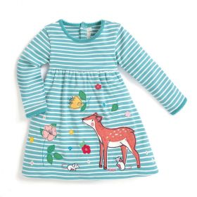 Girls' Deer Applique Dress 4-5 years